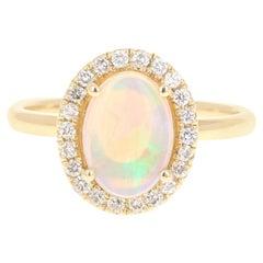 1.34 Carat Opal Diamond 14 Karat Yellow Gold Ring