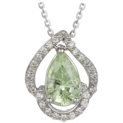 1.34 Carat Pear Shaped Paraiba Tourmaline Diamond Halo Wave Pendant 14K Gold