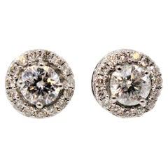 1.34 Carat Round Brilliant Pave Diamond Halo Stud Earrings 14 Karat White Gold