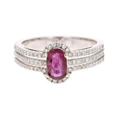 1.34 Carat Ruby and Diamond Ring in 14K White Gold