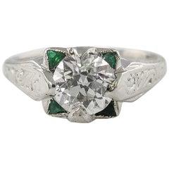 1.34 Carat Solitaire Old Euro Diamond Engagement Wedding Ring White Gold EGL USA