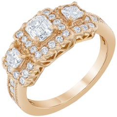 1.34 Carat Three-Stone Diamond Ring Rose Gold