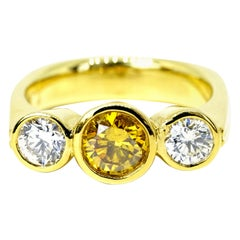 """Hofer Certified 1.34 Carats Fancy """"Amber Yellow"""" Three Stone Ring"""