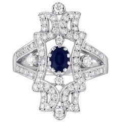 1.34 Carat Sapphire Diamond Gold Ring