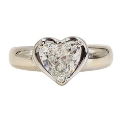 1.34 Heart Shape Diamond White Gold Solitaire Ring