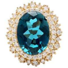 13.40 Ct Natural Impressive London Blue Topaz and Diamond 14K Yellow Gold Ring