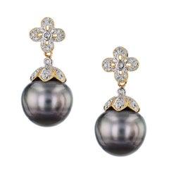13.40 Millimeter Tahitian Pearl Drop Earrings