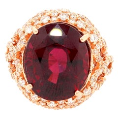 13.41 Carat Oval Rubellite and Diamond Ring