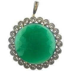 134.16 Carat Green Onyx, Diamond Pendant Oxidized Sterling Silver, 14 Karat Gold