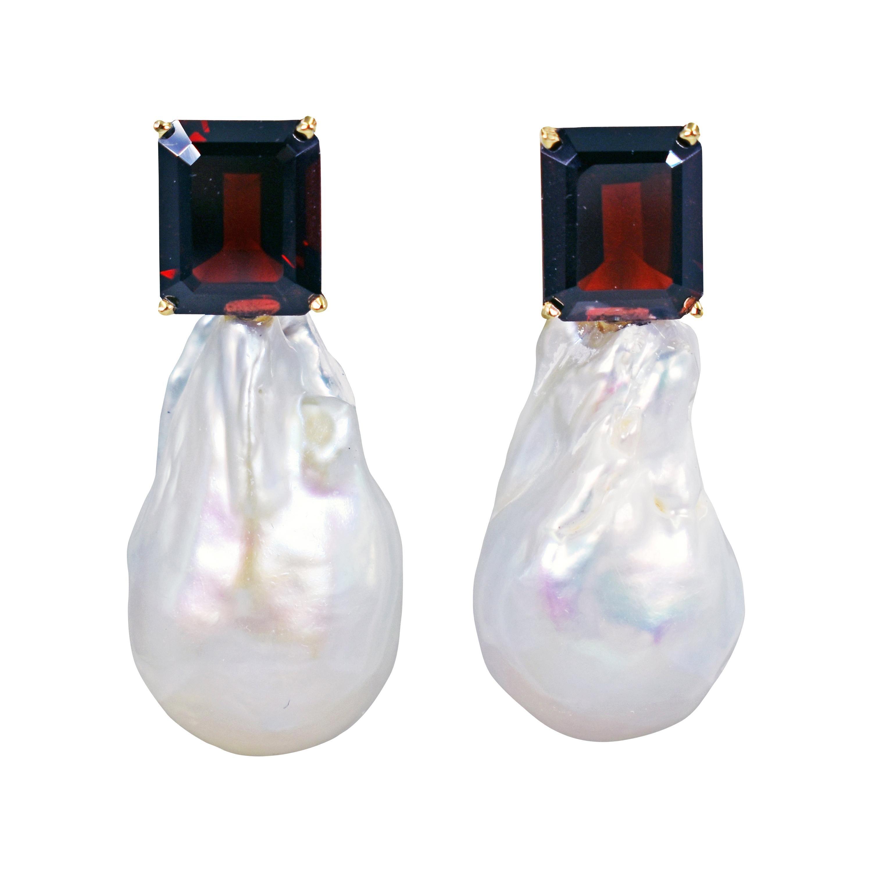 13.42 Carat Garnet and Freshwater Baroque Pearl 14 Karat Gold Drop Stud Earrings