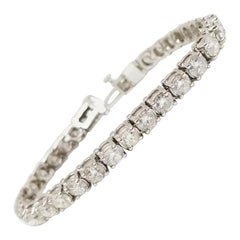 8.15 Carat Round Brilliant Cut Diamond Tennis Bracelet 14 Karat White Gold