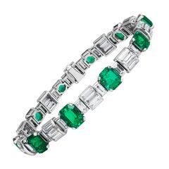 13.42 Carat Total Fine Natural Colombian Emerald and Diamond Handmade Bracelet