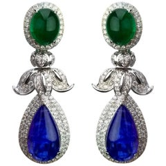 13.44 Carat Emerald and 28.76 Carat Tanzanite Cabochon Dangling Earrings