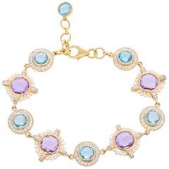 13.46 Carat Amethyst Blue Topaz Freshwater Pearl Diamond 18 Karat Gold Bracelet