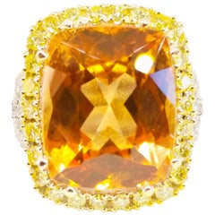 13.46 Carat Natural Grossular Garnet 1.75 Carat Canary and White Diamond Ring