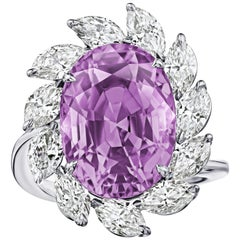 13.46 Carat Oval Pink Sapphire and Diamond Ring
