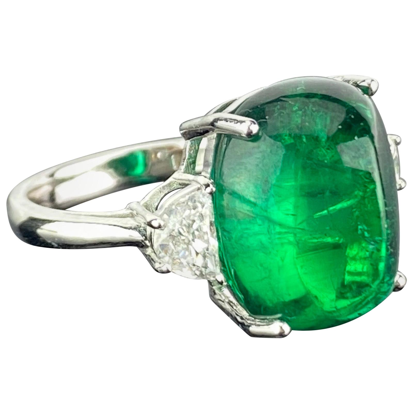 Certified 13.47 Carat Sugarloaf Emerald and Diamond Three-Stone Engagement Ring