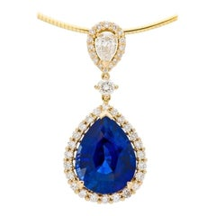 13.48 Carat Ceylon Sapphire and Diamond Pendant in 18 Karat Yellow Gold