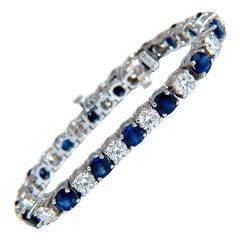 13.48 Carat Natural Vivid Royal Blue Round Sapphires Diamond Bracelet 14 Karat