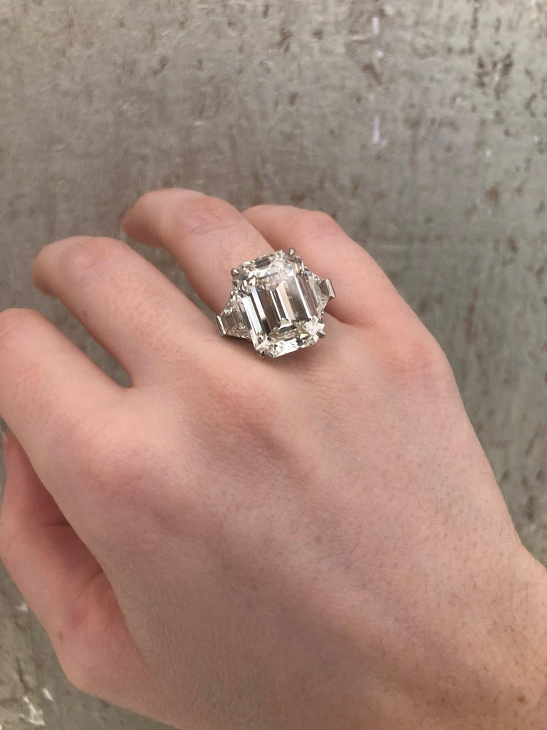 13.49 Carat GIA Emerald Cut 3-Stone Diamond Ring For Sale 9