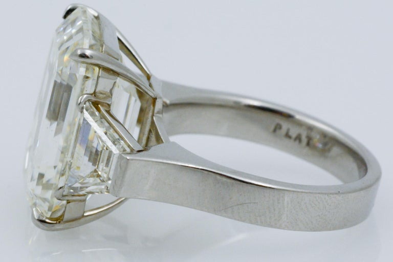 13.49 Carat GIA Emerald Cut 3-Stone Diamond Ring For Sale 7
