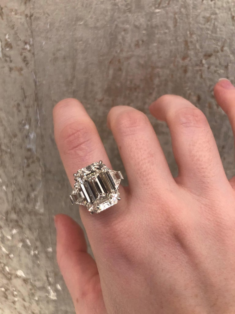 13.49 Carat GIA Emerald Cut 3-Stone Diamond Ring For Sale 8