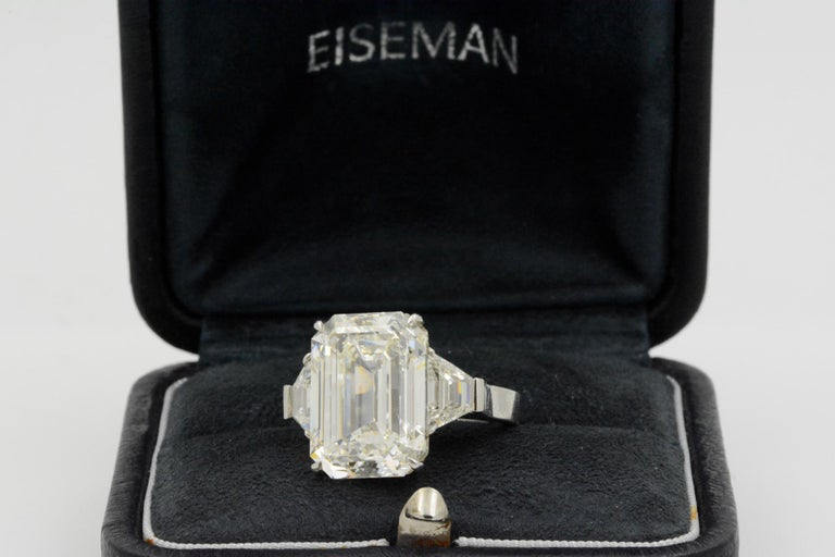 Modern 13.49 Carat GIA Emerald Cut 3-Stone Diamond Ring For Sale