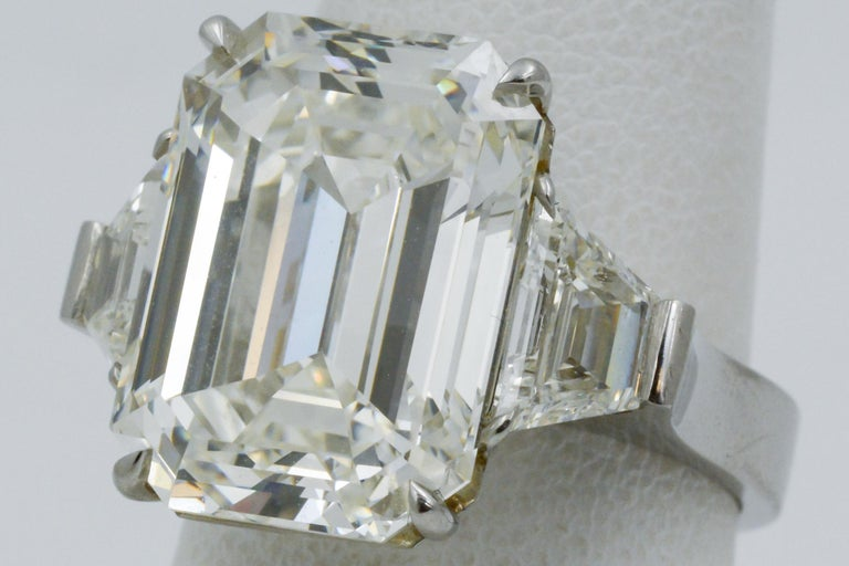 Women's 13.49 Carat GIA Emerald Cut 3-Stone Diamond Ring For Sale