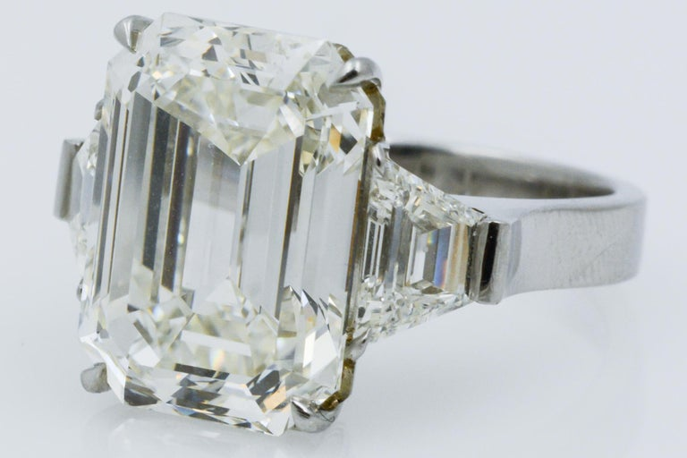 13.49 Carat GIA Emerald Cut 3-Stone Diamond Ring For Sale 3
