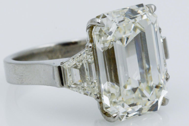 13.49 Carat GIA Emerald Cut 3-Stone Diamond Ring For Sale 4