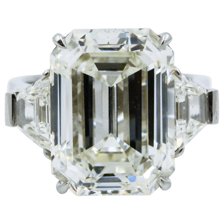 13.49 Carat GIA Emerald Cut 3-Stone Diamond Ring For Sale
