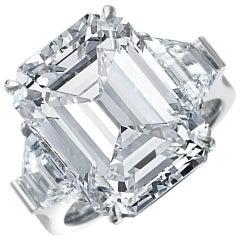 13.49 Carat GIA Emerald Cut 3-Stone Diamond Ring