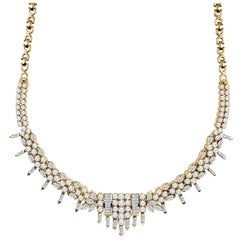13.49 Carat Total Diamond Necklace in 22 Karat Gold with Multi-Shape Diamonds