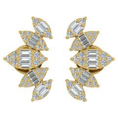 1.35 Carat Diamond 18 Karat Gold Leaf Stud Earrings