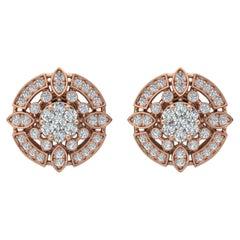 1.35 Carat Diamond 18 Karat Gold Round Stud Earrings