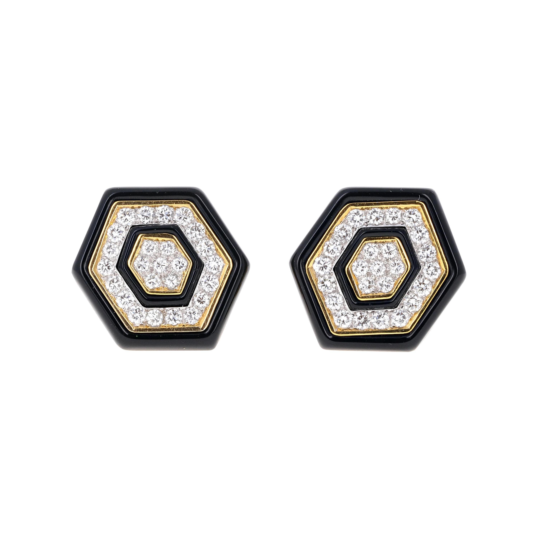 1.35 Carat Diamond and Onxy Retro Clip-On Earrings