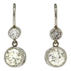 1.35 Carat Diamond Drop Earrings Victorian Style Platinum 2-Stone Lever Back