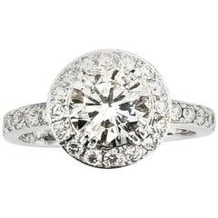 1.35 Carat Diamond Halo 18 Karat Gold Wedding Engagement Ring No Certificate