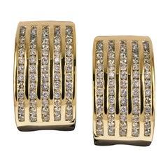 1.35 Carat Diamond Huggie 14 Carats Yellow Gold Earrings