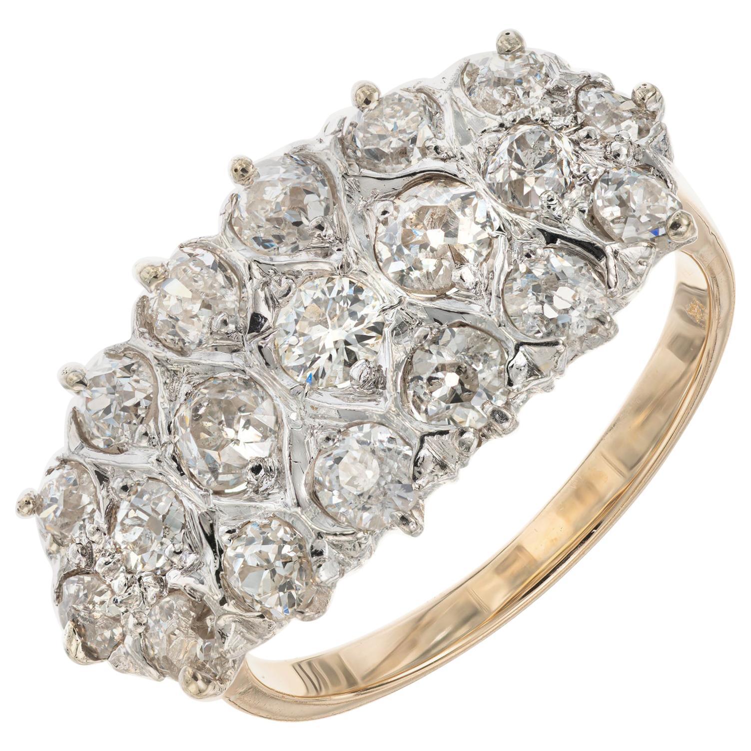 1.35 Carat Diamond Platinum Yellow Gold Art Deco Cluster Ring