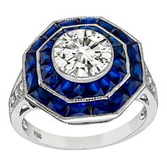 1.35 Carat Diamond Sapphire Engagement Ring