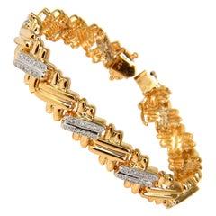 "1.35 Carat Diamonds Double Bar ""x"" Linked Bracelet 14 Karat"