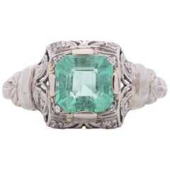 1.35 Carat Edwardian Emerald Platinum Engagement Ring