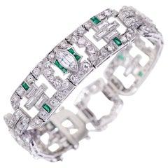 13.5 Carat Emerald and Diamond Art Deco Bracelet in Platinum