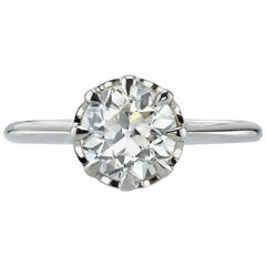 1.35 Carat GIA Certified Old European Cut Diamond Set in a Champagne Gold Ring