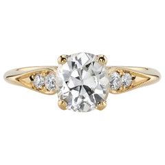 1.35 Carat GIA Certified Old European Cut Diamond Set in an 18 Karat Gold Ring