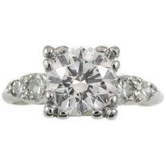 1.35 Carat GIA Certified Round Brilliant Diamond Platinum Engagement Ring