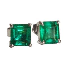 1.35 Carat Natural AAA+ Colombian Emerald Stud Earrings 18 Karat White Gold