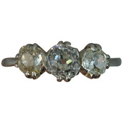 1.35 Carat Old Cut Diamond Platinum Trilogy Ring