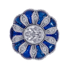 1.35 Carat Old European Cut Diamond with Cabochon Sapphire Ring in 18 Karat Gold